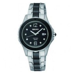 Ladies Seiko Coutura Black Ceramic and Steel Bracelet Watch