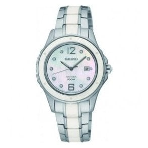 Ladies Seiko Coutura White Ceramic and Steel Bracelet Watch