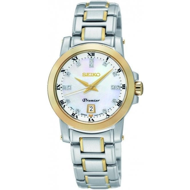 Seiko Ladies Seiko Premier MOP Diamond Dial Two Tone Bracelet Watch