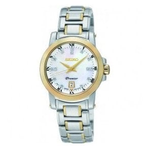 Ladies Seiko Premier MOP Diamond Dial Two Tone Bracelet Watch