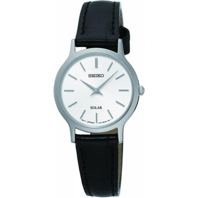 Seiko Ladies Seiko Quartz White Dial Black Leather Strap Watch
