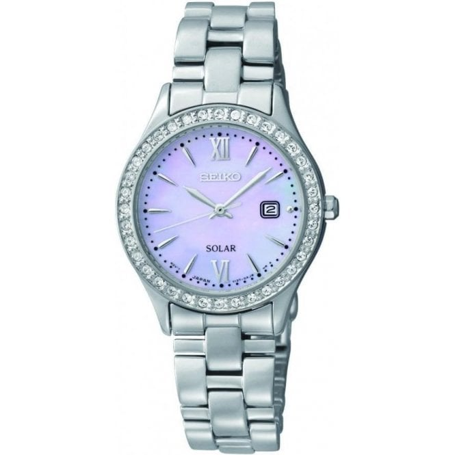 Seiko Ladies Seiko Solar Mother of Pearl Dial CZ Bezel Bracelet Watch