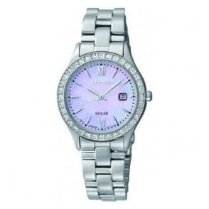 Ladies Seiko Solar Mother of Pearl Dial CZ Bezel Bracelet Watch