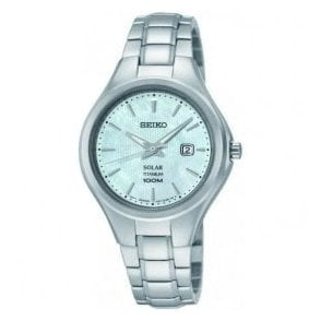 Ladies Seiko Solar Titanium Grey MOP Dial Bracelet Watch