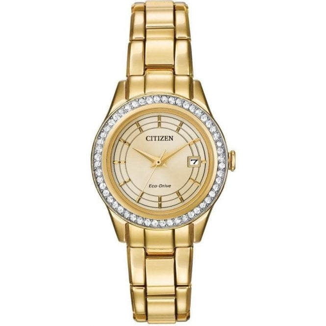 Citizen Ladies Silhouette Champagne Dial Crystal Bezel Eco-Drive Watch