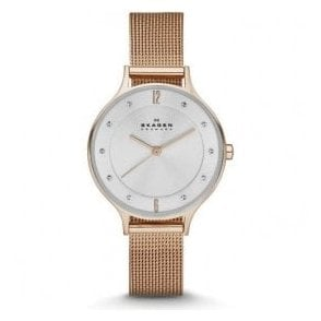 Ladies Skagen Anita Rose Gold PVD Mesh Bracelet Watch