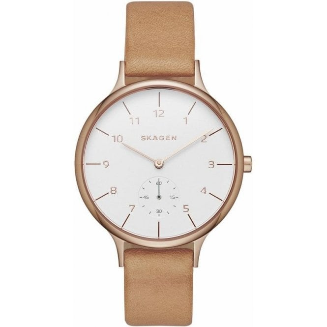 Skagen Ladies Skagen Anita White Dial Brown Leather Strap Watch