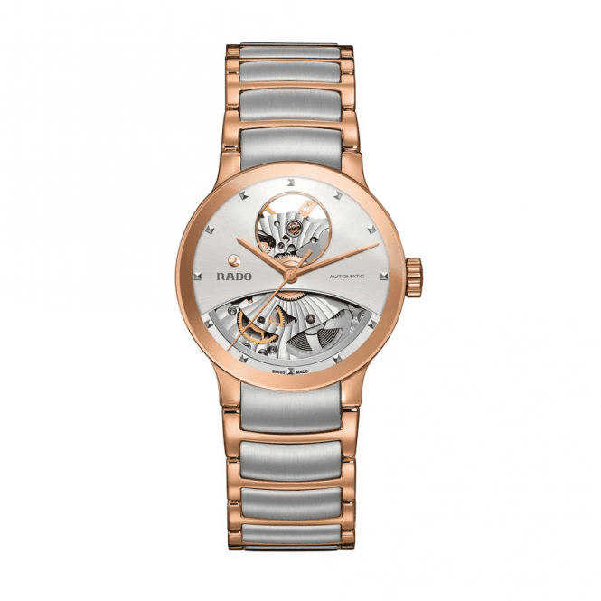 Rado Ladies Steel and Rose PVD Centrix Open Heart