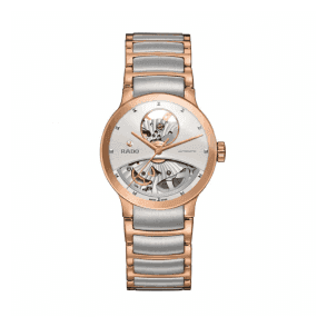 Ladies Steel and Rose PVD Centrix Open Heart