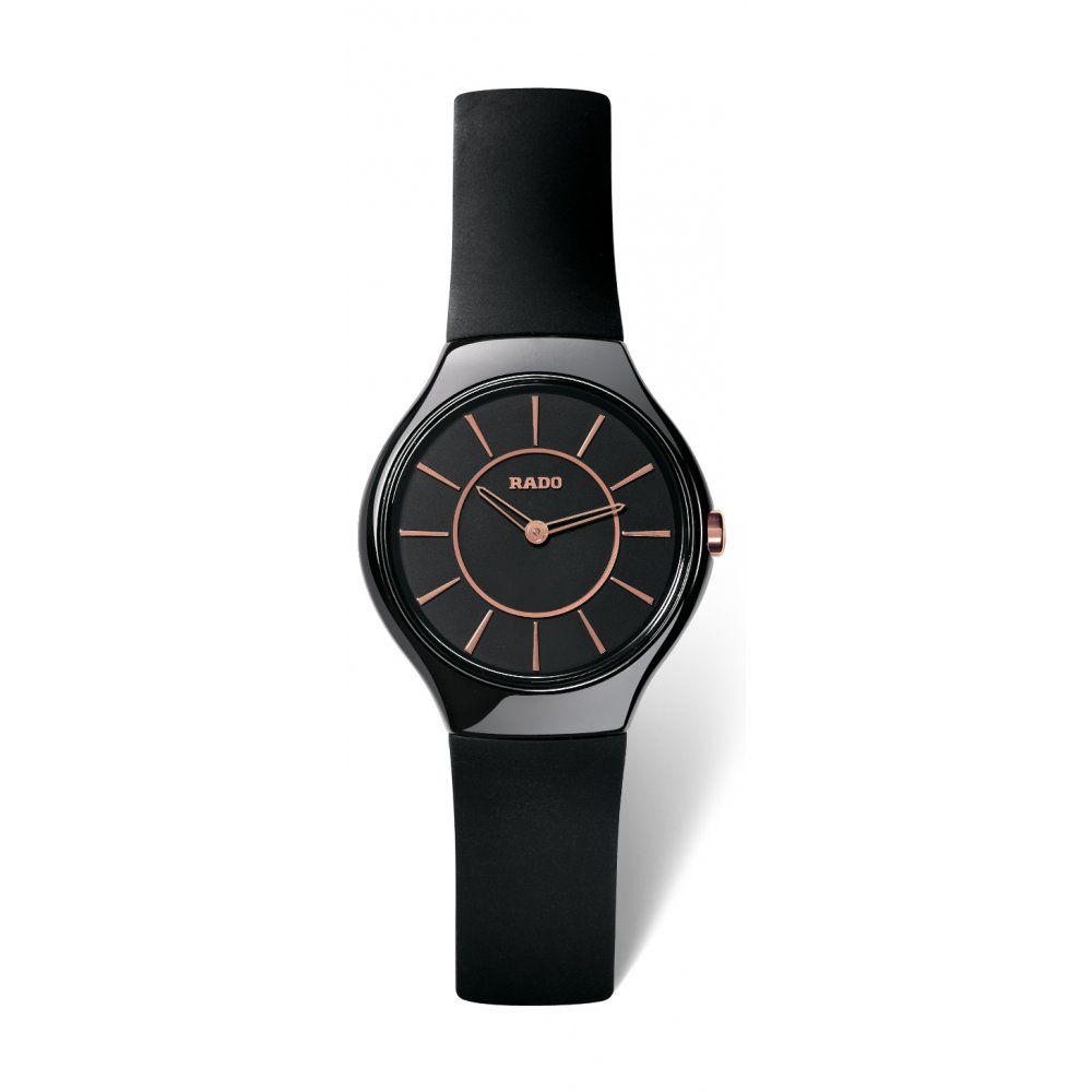 e5d8a5b7b Rado Ladys True Thinline watch in black High-Tech Ceramic