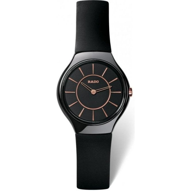 Ladies True Thinline Black Ceramic Rubber Strap Quartz Watch