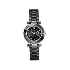 Lady's black ceramic quartz GC watch.