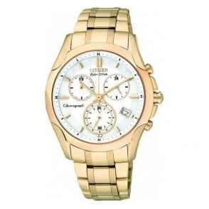 Lady's chronograph Eco-Drive sports Gold PVD watch.