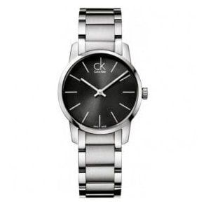 Lady's 'City' Stainless Steel Black Dial Bracelet Watch