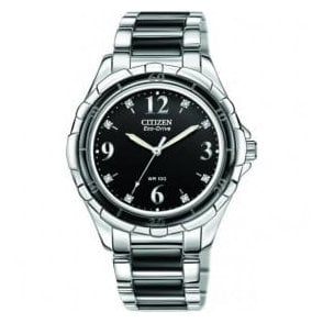 Lady's sports stainless steel and ceramic diamond watch