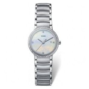 Lady's stainless steel Centrix watch with diamond bezel