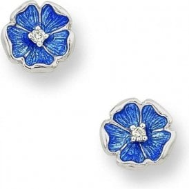 Silver blue enamelled and diamond set floral earrings