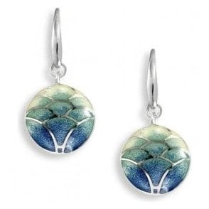 Silver Blue-Green enamelled drop earrings