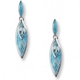 Silver Blue Topaz and Blue Enamelled drop earrings