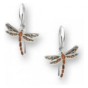 Silver Orange enamelled Dragonfly drop earrings