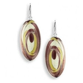 Silver Oval Brown Enamelled Drop Earrings