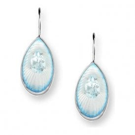Silver pale blue drop enamelled earrings