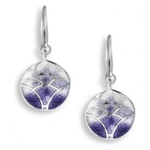 Silver purple enamelled Lotus drop earrings