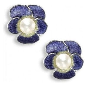 Silver Purple Enamelled Stud Earrings with Freshwater Pearl
