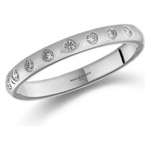 Platinum 10 brilliant cut diamond bezel set ring