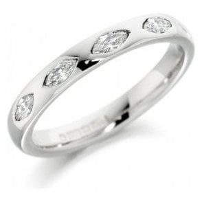 Platinum 5 Marquise diamond inset in the ring