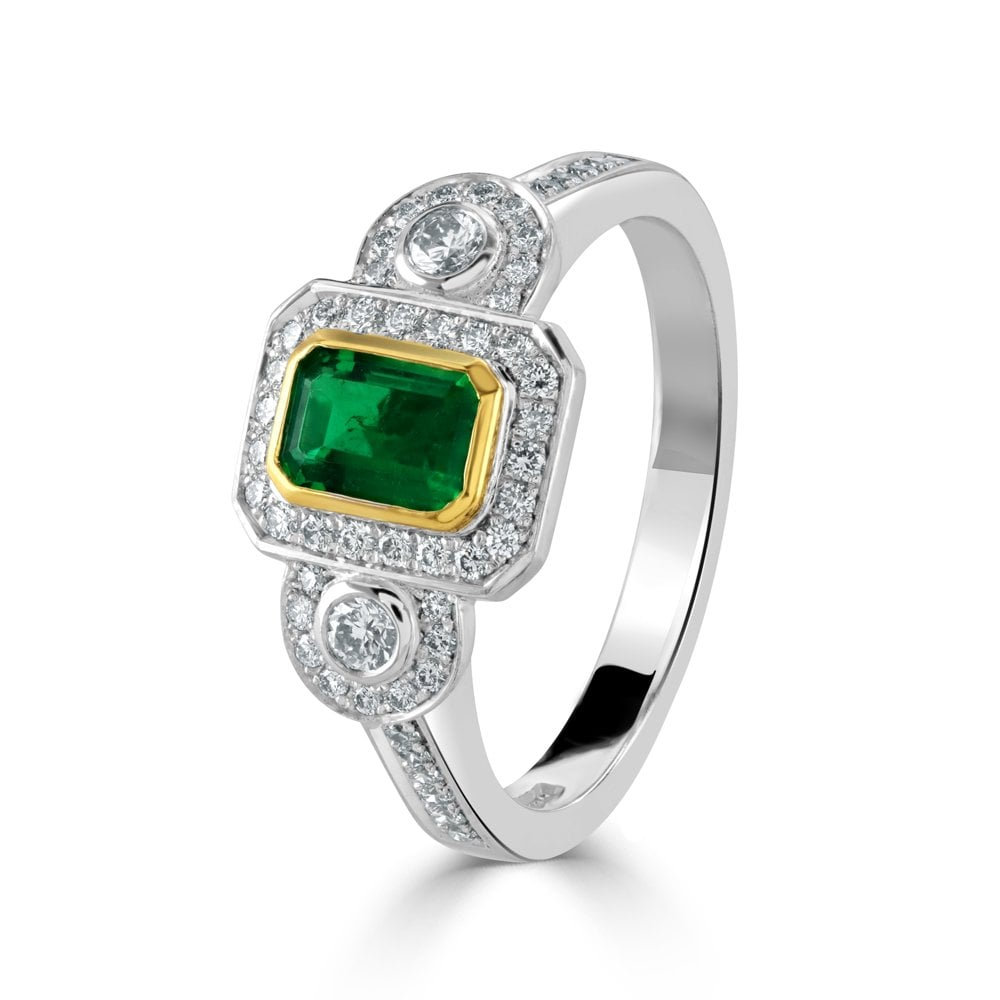 Yellow Gold Emerald And Diamond Retro