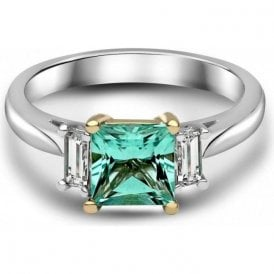Platinum and Yellow Gold 'Pariaba' coloured Tourmaline ring