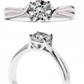 Platinum Simply Bridal Twist Solitaire Ring