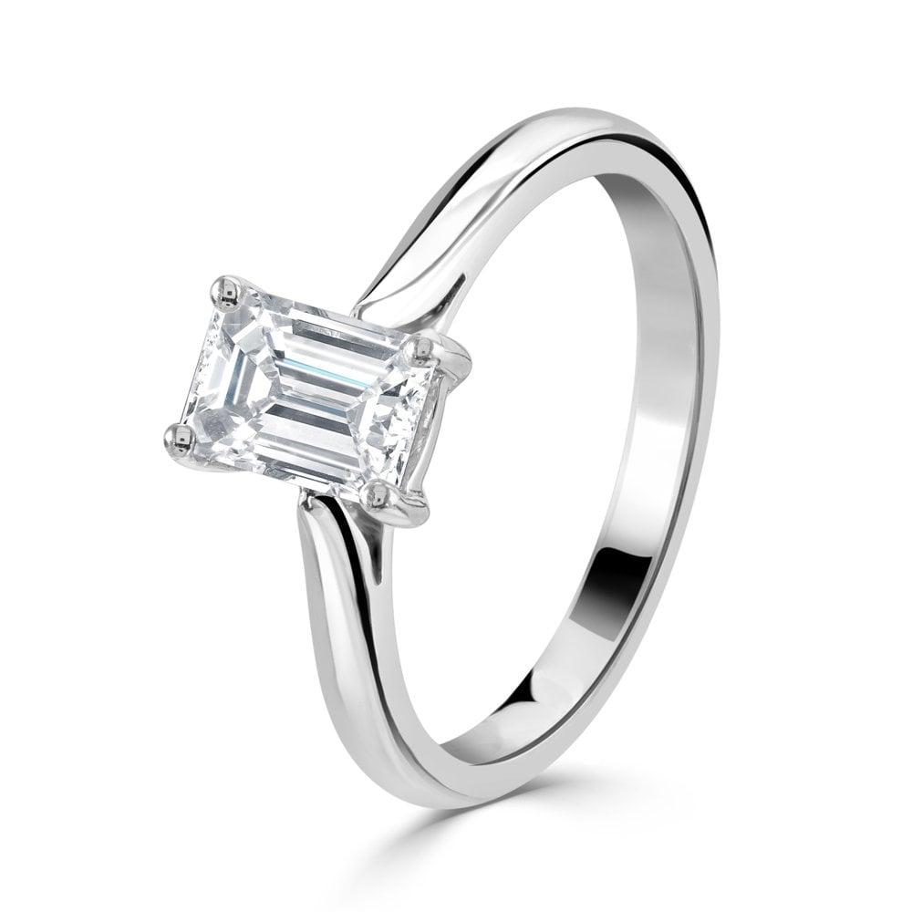 Dipples Platinum Solitaire Emerald Cut Diamond Ring Rings From Dipples Uk