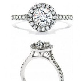 Platinum Solitaire Halo Diamond Ring