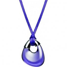 purple coloured crystal pendant on a cord