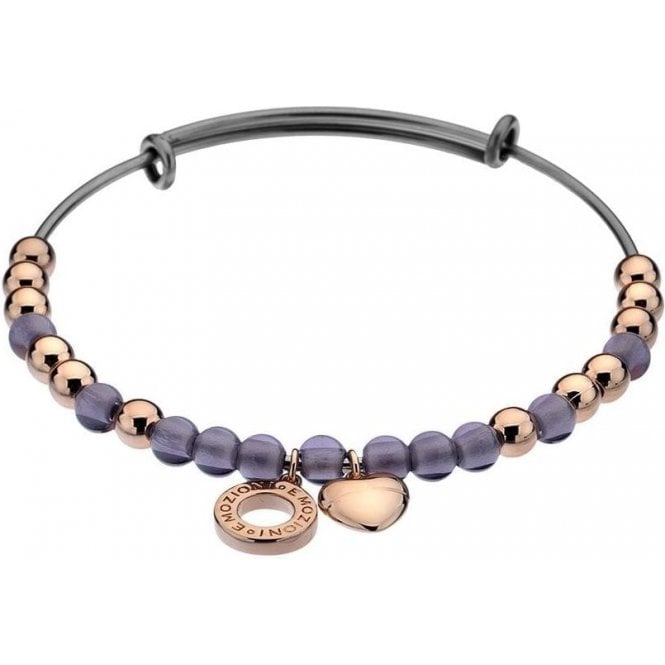 Hot Diamonds Emozioni Rose Gold Plated Bangle with Purple Glass Beads