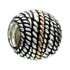 Silver and 14ct gold bead - Rope