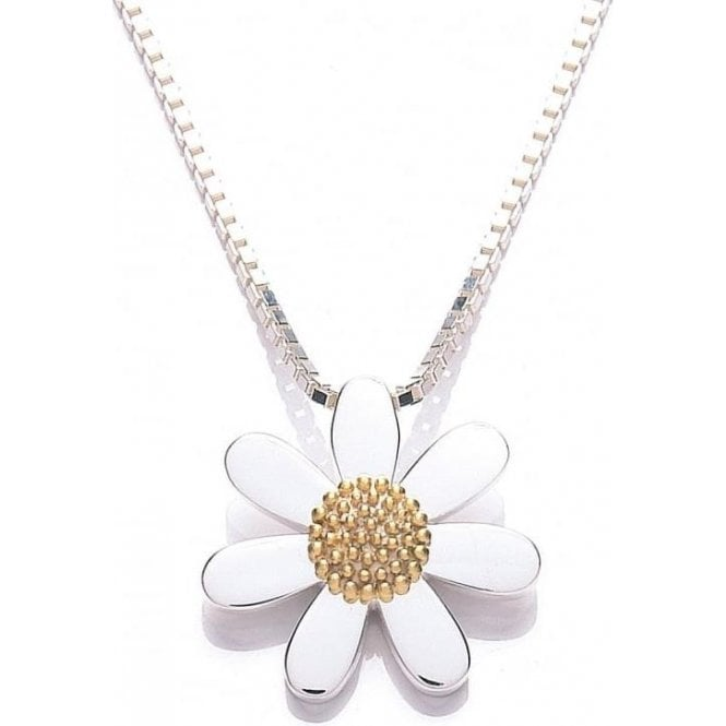 Daisy London Silver and Gold Plated 20mm Daisy pendant and chain