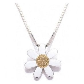 Silver and Gold Plated 20mm Daisy pendant and chain