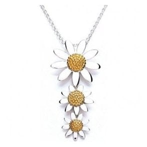 Daisy London Silver and gold plated 3 daisy drop pendant and chain