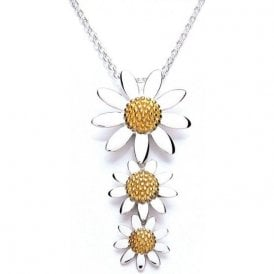 Silver and gold plated 3 daisy drop pendant and chain