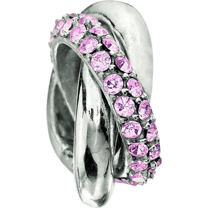Chamilia Silver bead - 3 rings- Light rose