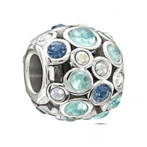 Silver bead - Captivate - Multi blue swarovski