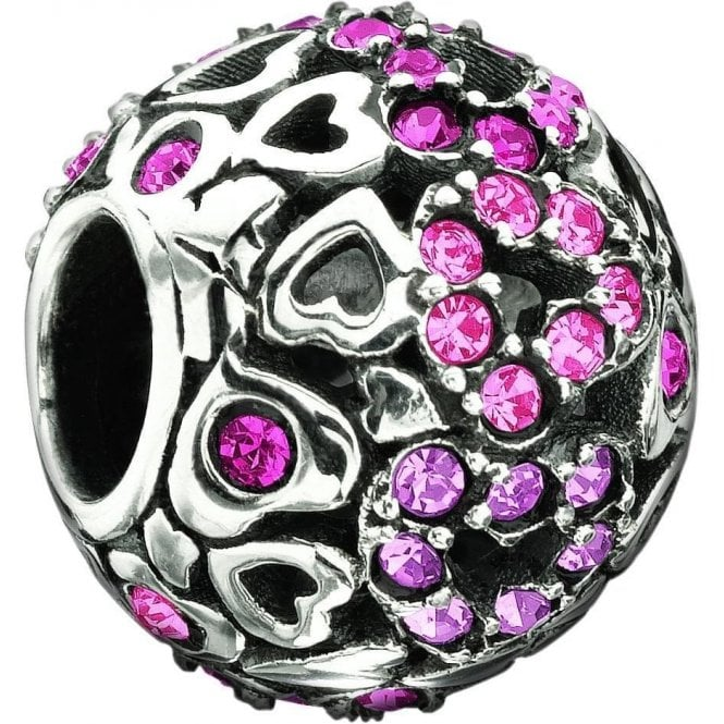 Chamilia Silver bead- Captured hearts pink