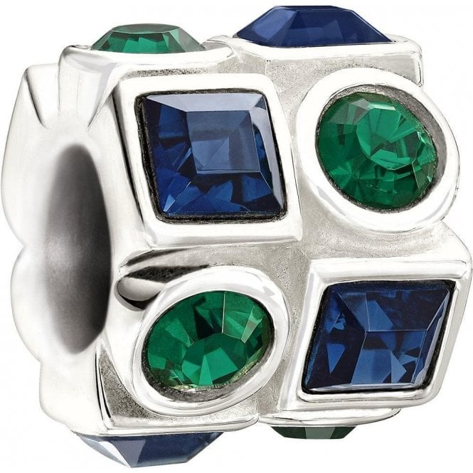 Chamilia Silver  bead - Circle and square - green and blue