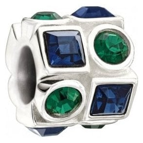 Silver  bead - Circle and square - green and blue