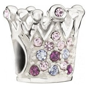 Silver bead - Crystal crown - purple