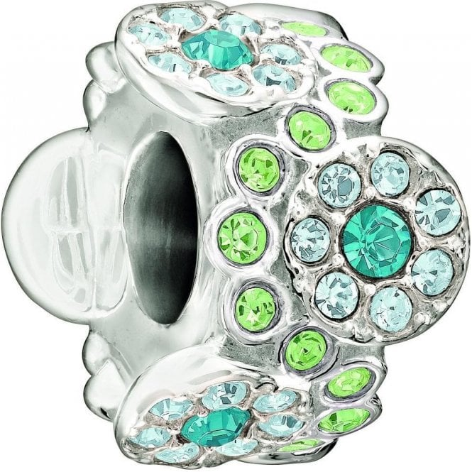 Chamilia Silver bead - Daisy bouquet - green and blue