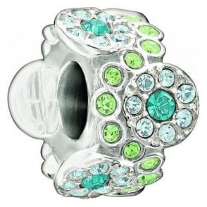 Silver bead - Daisy bouquet - green and blue